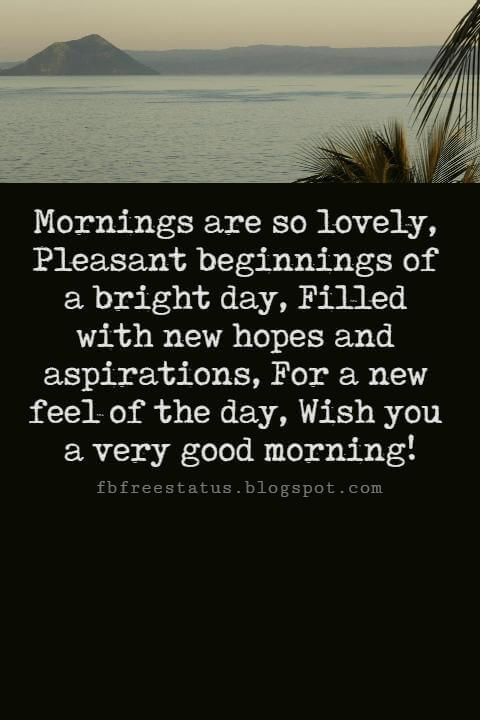 Sweet Good Morning Messages, Mornings are so lovely, Pleasant beginnings of a bright day, Filled with new hopes and aspirations, For a new feel of the day, Wish you a very good morning!