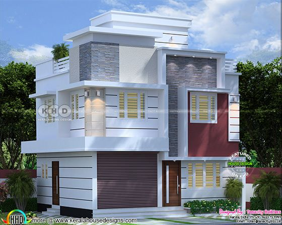 Rendering of residence with shop