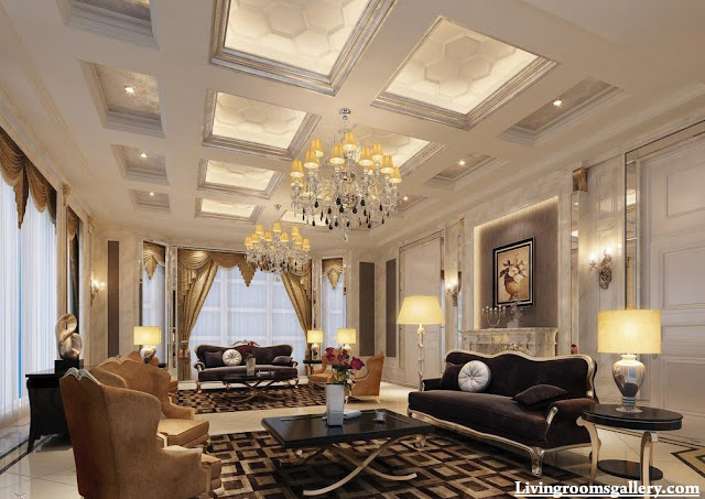 elegant modern POP false ceiling designs for living room
