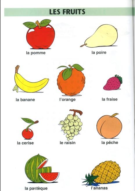 Resultado de imagen para vocabulaire fruits