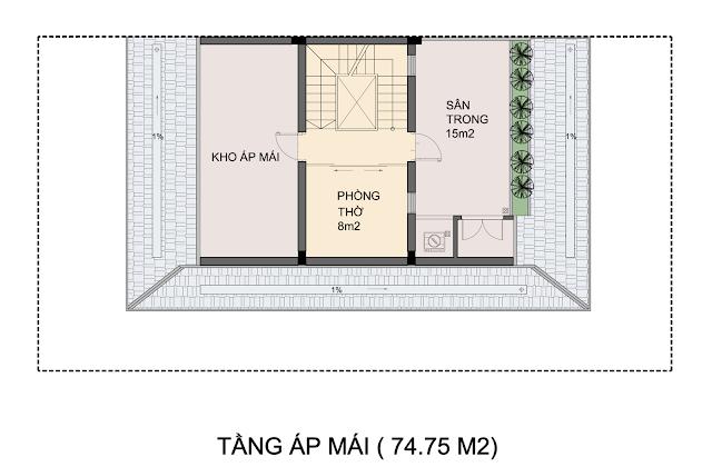 Mặt bằng mẫu biệt thự P1-3 Tầng áp mái