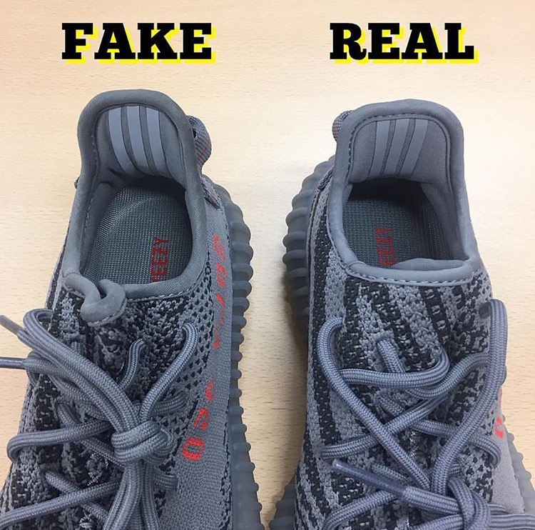 488059b5d ... Yeezy Boost 350 V2 Beluga Real VS Fake Facebook  Which is real post   The Stripe Colour  When shinning light or your phone flash on the three  strips you ...