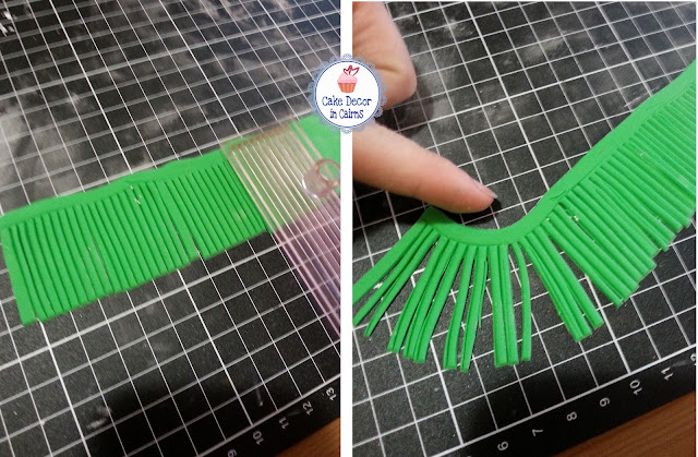 Fondant/ Gumpaste Grass Skirt! Use Gem cutters to make the grass.
