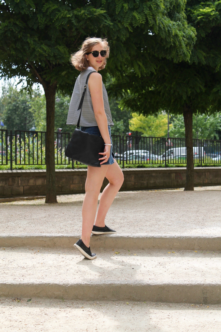 Zara striped collared shirt, jean mini skirt and leather slip on sneakers in Paris