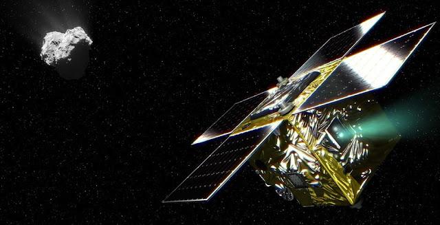 The PROCYON spacecraft and comet 67P/Churumov-Gerasiment (Conceptual Image). Credit: NAOJ/ESA