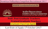Kendriya Vidhyalaya Sangathan Recruitment 2017– 546 Post Graduate Teachers (PGTs), Trained Graduate Teachers