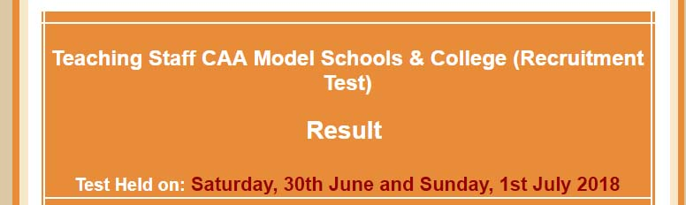 CAA NTS Test Result for Teaching Staff,