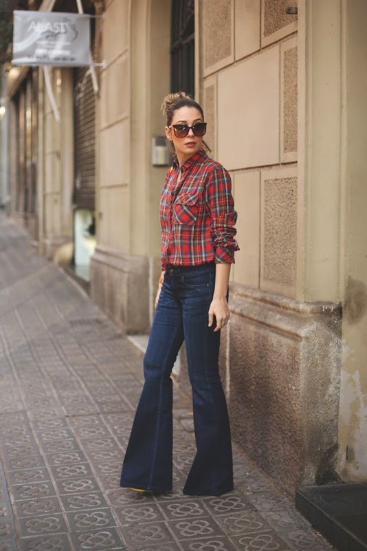 Wearing a Flared Jeans with Flannel Shirt for Classy Spring Look