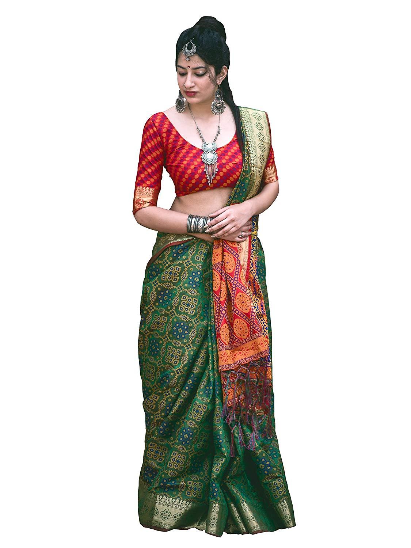Applecreation Women'S Patola Silk Saree With Blouse Piece (8)
