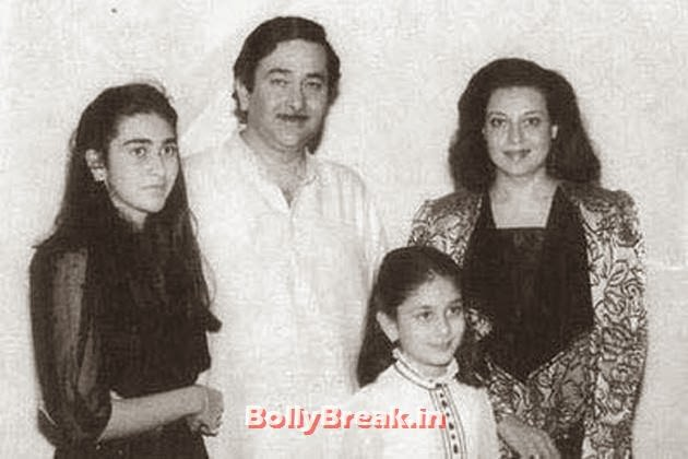 After starring opposite Babita in Kal Aaj Aur Kal, Randhir Kaoor (Raj Kapoor's first son) married her. They have two daughters, Karisma Kapoor and Kareena Kapoor, both of whom joined the film industry, Kapoor Family Pics, Kapoor Family Chain, Origin, Caste, Family Tree - Nanda, Jain