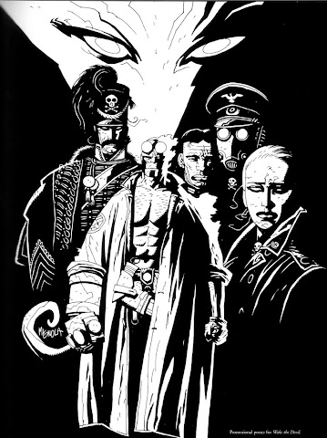 Illustration of Hellboy and enemies