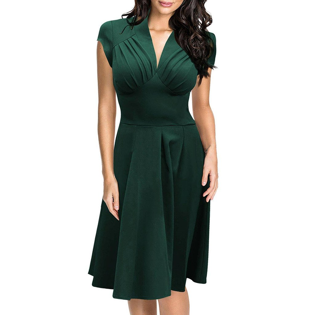 Chicloth Emerald Green Cap Sleeve Dress
