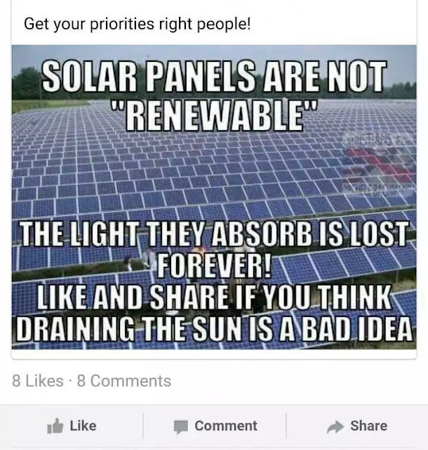 Bad idea about solar panels.