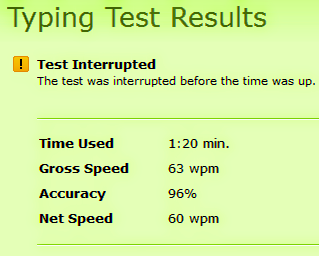 Typing Test Speed Score