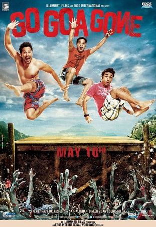 Poster Of Go Goa Gone 2013 Hindi 300MB DVDRip 480p ESubs Free Download Watch Online