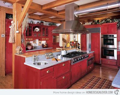 แบบห้องครัวไม้เล็กๆสีแดง