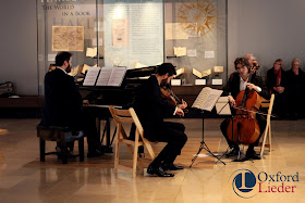 Phoenix Piano Trio performing Schumann at the Weston Library, Oxford Lieder Festival - photo Tom Herring