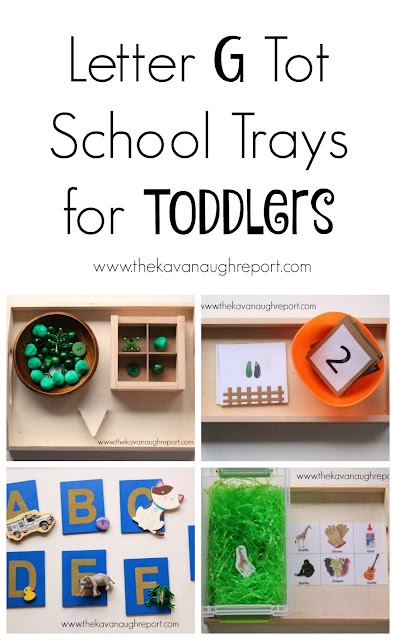 Letter G tot school tray ideas. Here are some easy, DIY ideas to help teach toddlers letters.