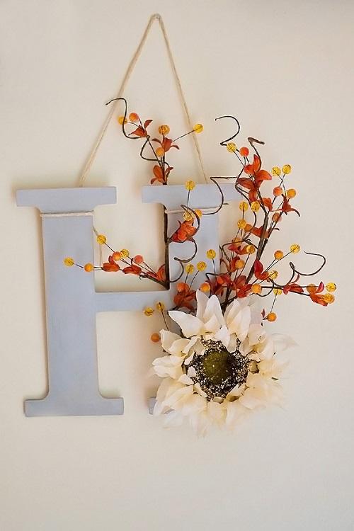 diy fall monogram door decor