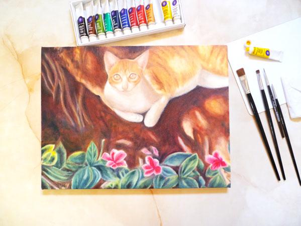 pintar gato con oleos