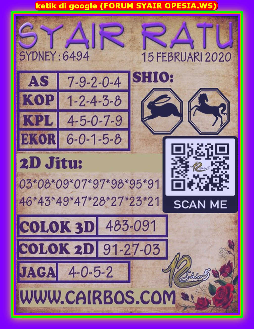 Kode syair Sydney Sabtu 15 Februari 2020 108
