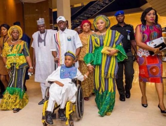 Yahaya Bello & Wife show off their Physically Challenged Son