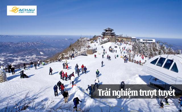 Trải nghiệm trượt tuyết khi đi du lịch Hàn Quốc