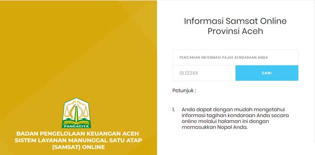 pembayaran pajak motor online provinsi aceh
