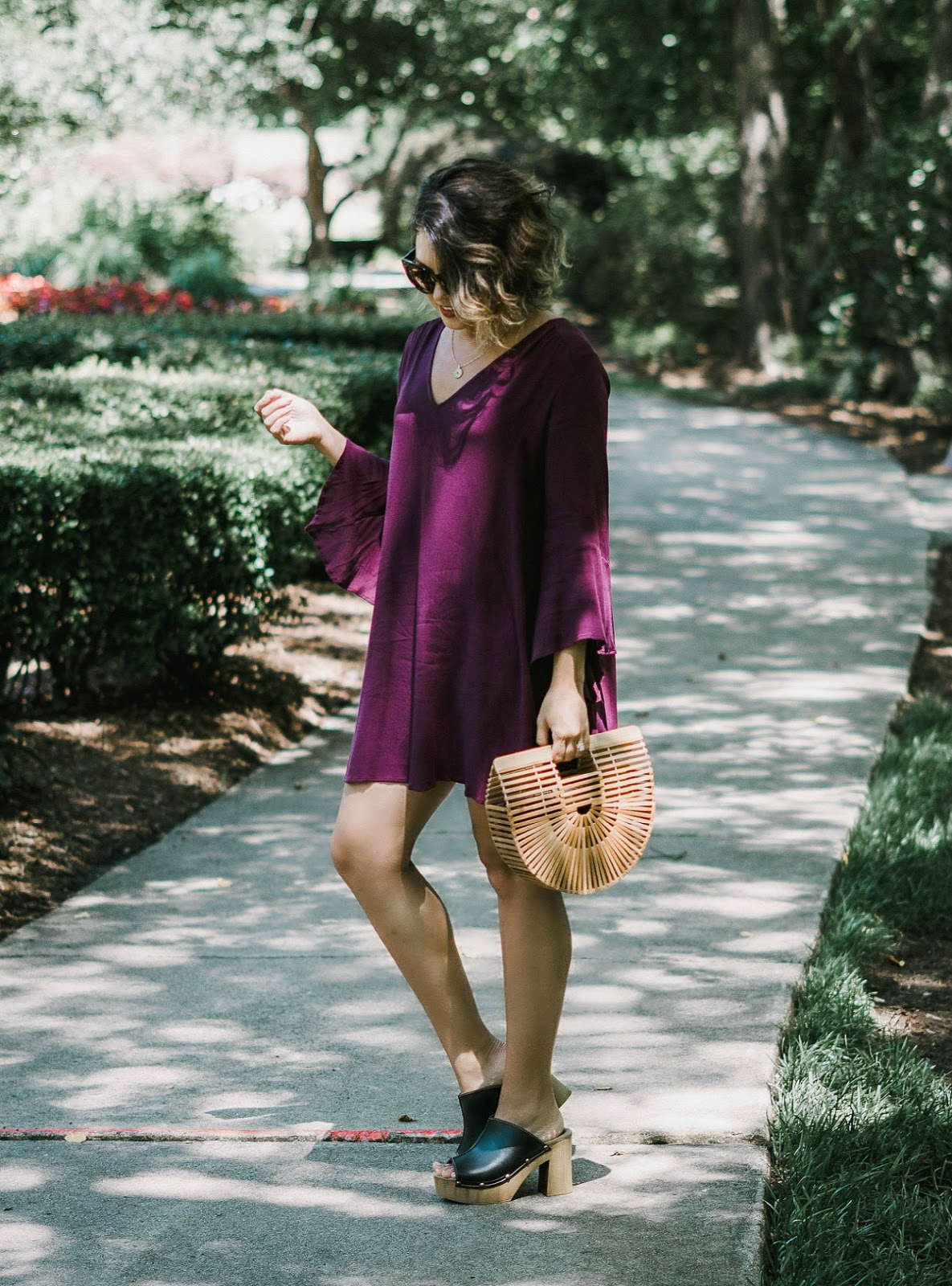 cult gaia bamboo bag, lush bell sleeve dress, celine audrey