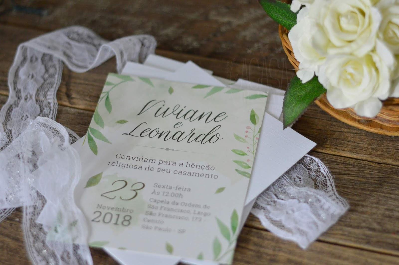 Convite de Casamento Artesanal - Estilo Aquarela
