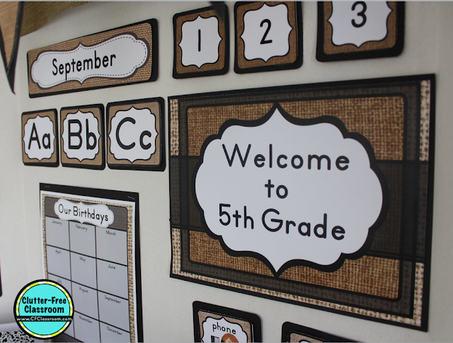Burlap Theme Classroom Decor Bundle