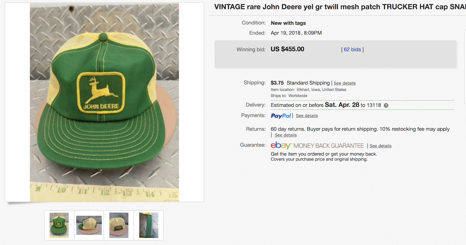 I remember people wearing that exact hat back then. My father-in-law wore a John  Deere hat just like this one. 4be71629fa1