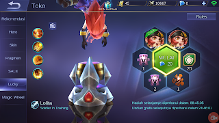 cara mendapatkan skin dari lucky spin mobile legends