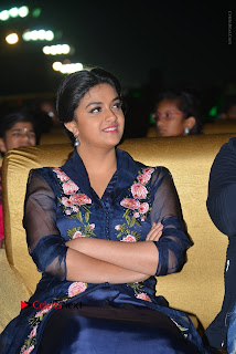 Keerthi Suresh Stills in Blue Long Dress at Nenu Local Audio Launch