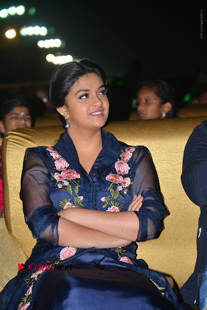 Actress Keerthi Suresh Stills in Blue Long Dress at Nenu Local Audio Launch  0032.JPG