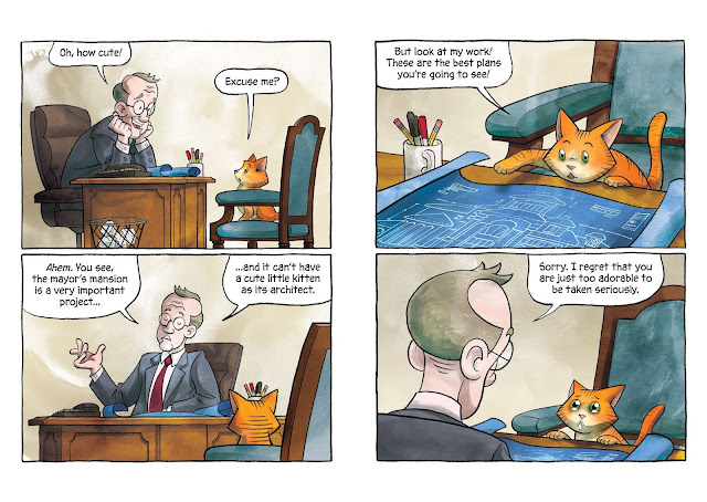 A four panel spread in which an orange cat's plans are rejected because she is too cute.
