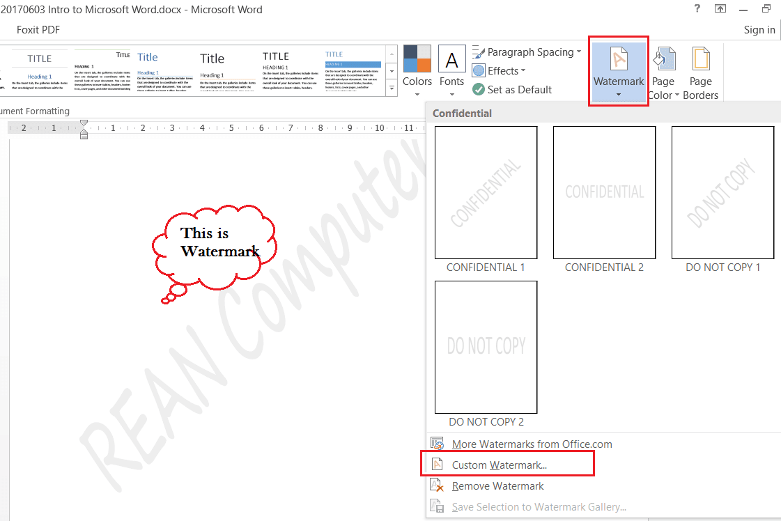 how to use watermark in microsoft word - rean computer 101
