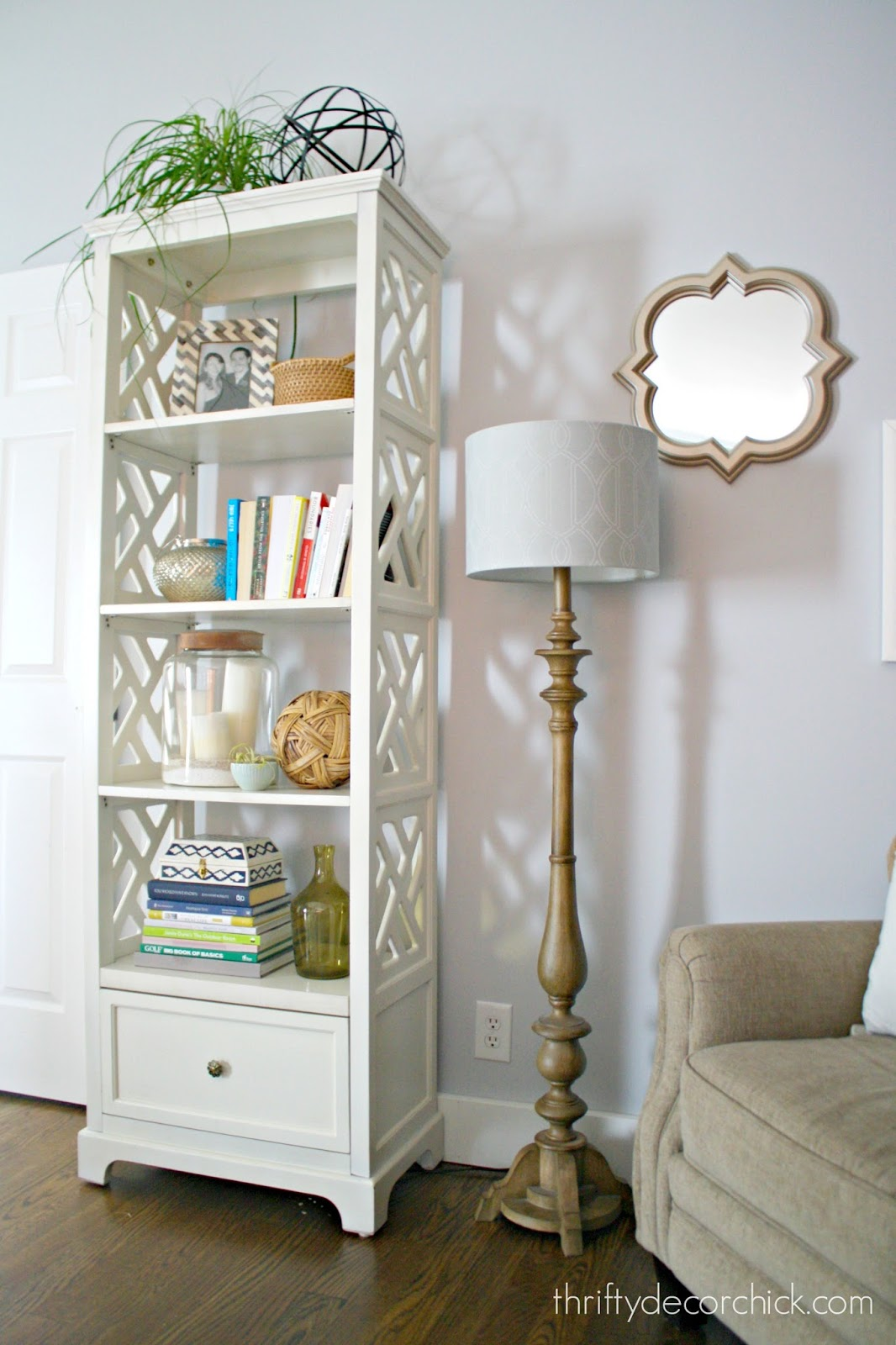 bookcase with cut outs