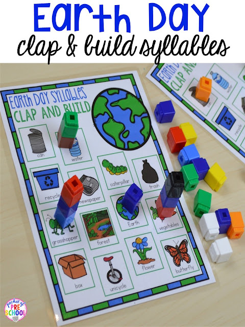 Earth Day clap and build syllables game. Plus FREE Earth Day vocabulary posters! Perfect for preschool, pre-k, or kindergarten.