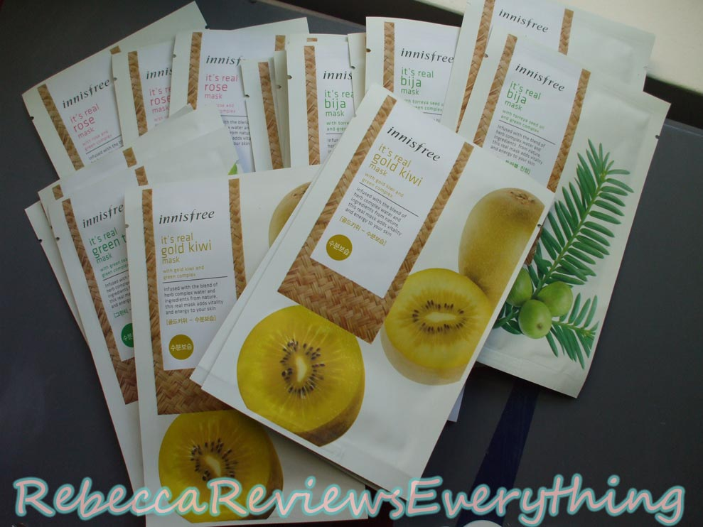 Innisfree It's Real Sheet Mask Reviews Gold Kiwi, Green Tea, Jeju Bija & Rose