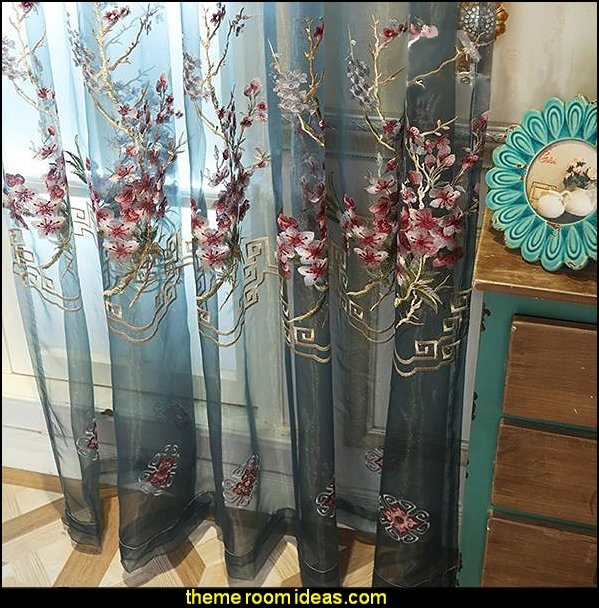 Embroidered Flowers Pattern Blue Sheer Curtain