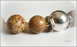 naszyjnik vintage perły słodkowodne i jaspis krajobrazowy