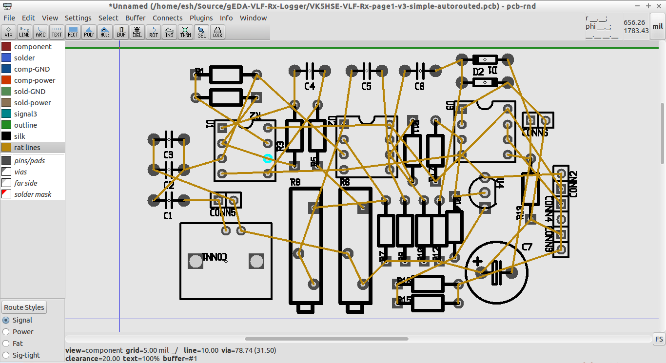 blog de VK5HSE: Automatic routing in gEDA PCB and pcb-rnd... a HOWTO