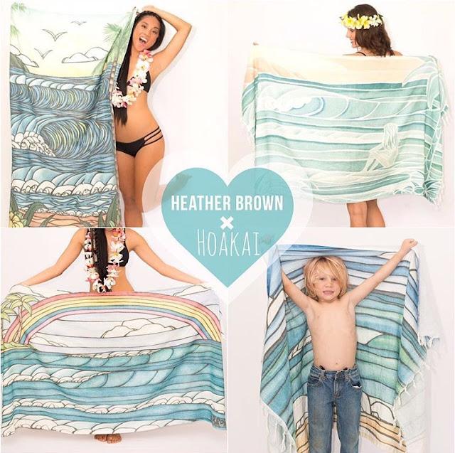 heather brown tropical hawaii art towel