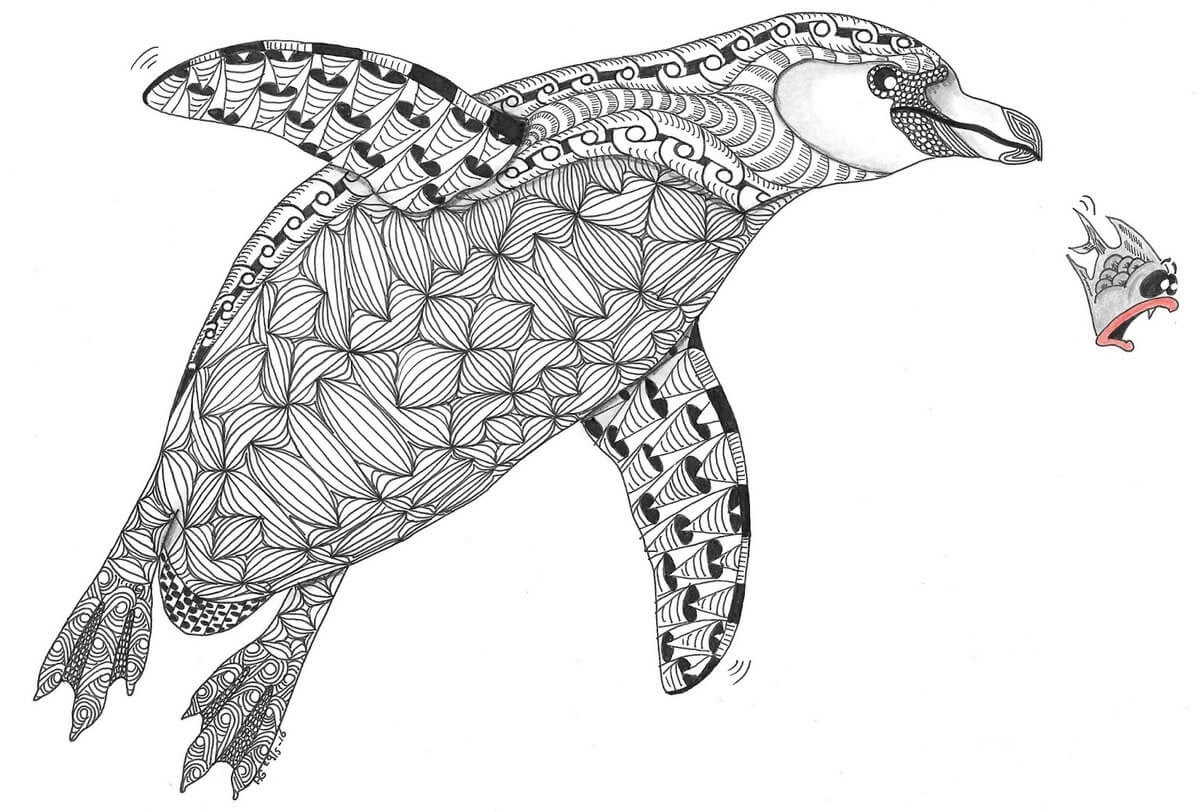 01-Penguin-Adri-van-Garderen-Animals-Given-the-Zentangle-Treatment-www-designstack-co
