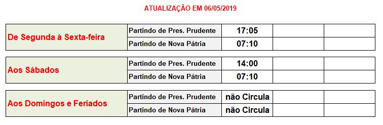 Jandaia Horarios Nova Pátria