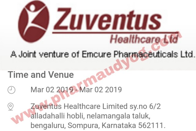 Zuventus Healthcare   Walk-in for Production & QA   2nd March 2019   Bangalore