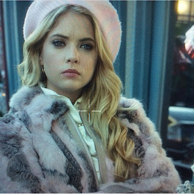 Pretty Little Liars Hanna Marin (Ashley Benson) pink wool Betmar New York French Beret hat and fur coat, PLL fashion and outfits