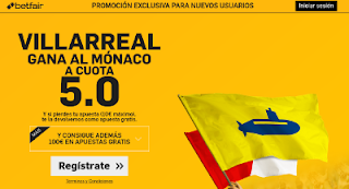 betfair supercuota 5 Villareal gana al Monaco champions league 17 agosto