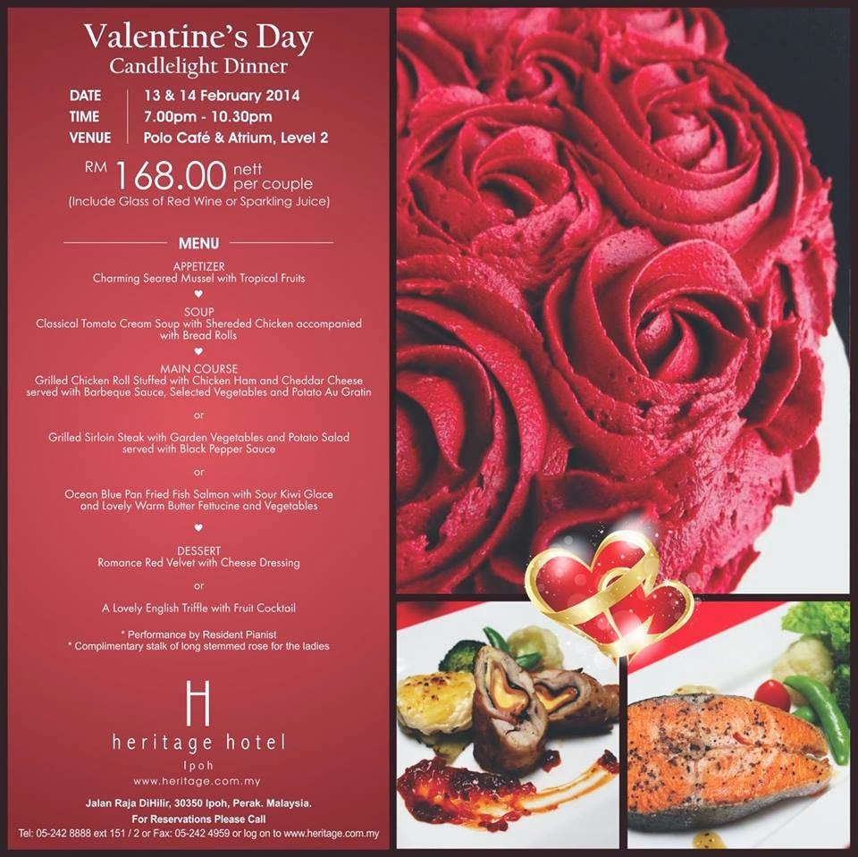Valentine Candlelight Dinner Promotion At Heritage Hotel
